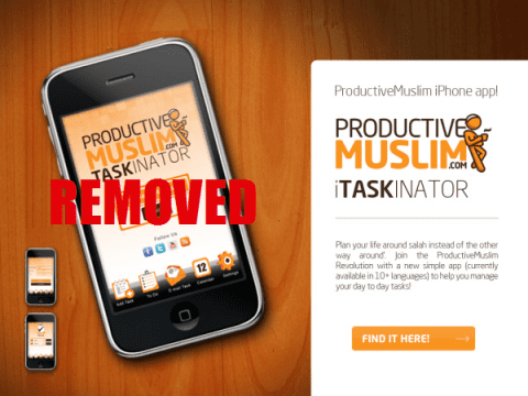 ProductiveMuslim iPhone iTaskinator App Removed
