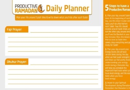 picture relating to Dailyplanner referred to as Profitable Ramadan Everyday Planner ProductiveMuslim