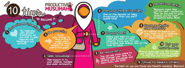 [Doodle of the Month] Top 10 Tips to Become a Productive Muslimah!