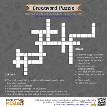 ProductiveMuslim Brain Teaser of the Month Crossword Puzzle