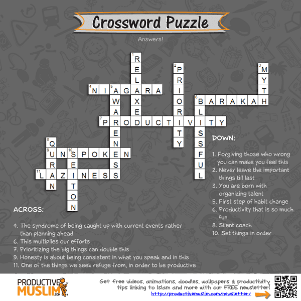[Brain Teaser of the Month] Crossword Puzzle | Productive Muslim