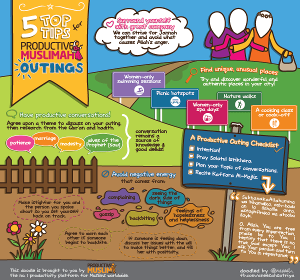 [Doodle of the Month] 5 Top Tips for Productive Muslimah Outings | Productive Muslim