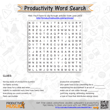 Productive Muslim Brain Teaser Productivity Word Search