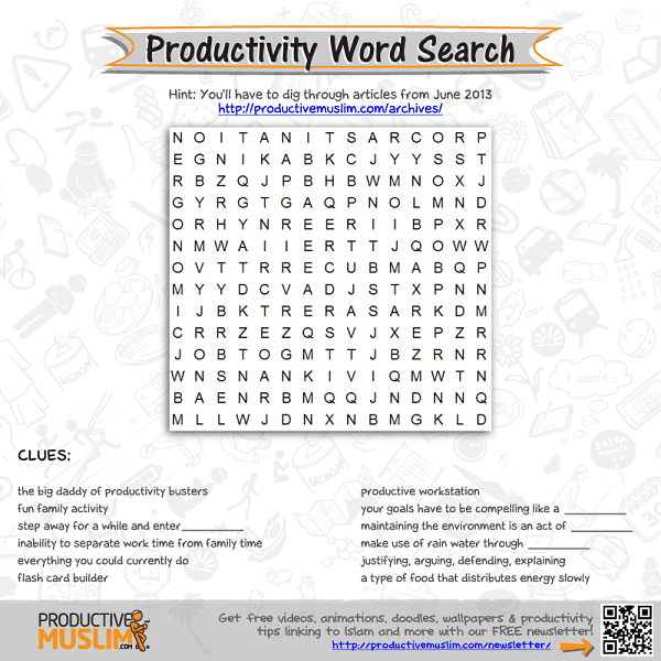 [Brain Teaser of the Month] Productivity Word Search | Productive Muslim