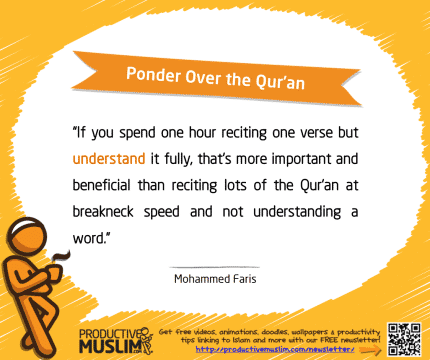 Ponder Over the Qur'an | Inspirational Islamic Quotes on Productivity | Productive Muslim