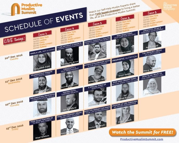 ProductiveMuslim Summit Speaker's Schedule | Link Between Islam & Personal Development